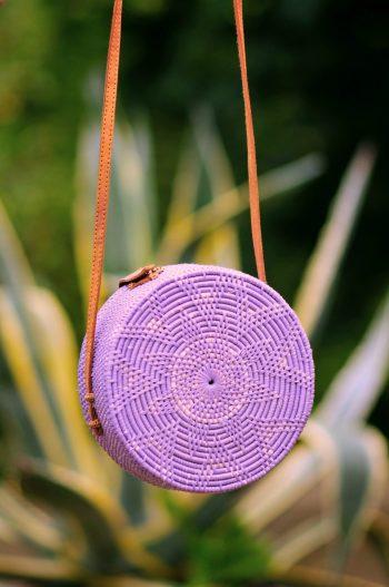 Lilac Round Basket bag, Rattan Bali bag, Bali3