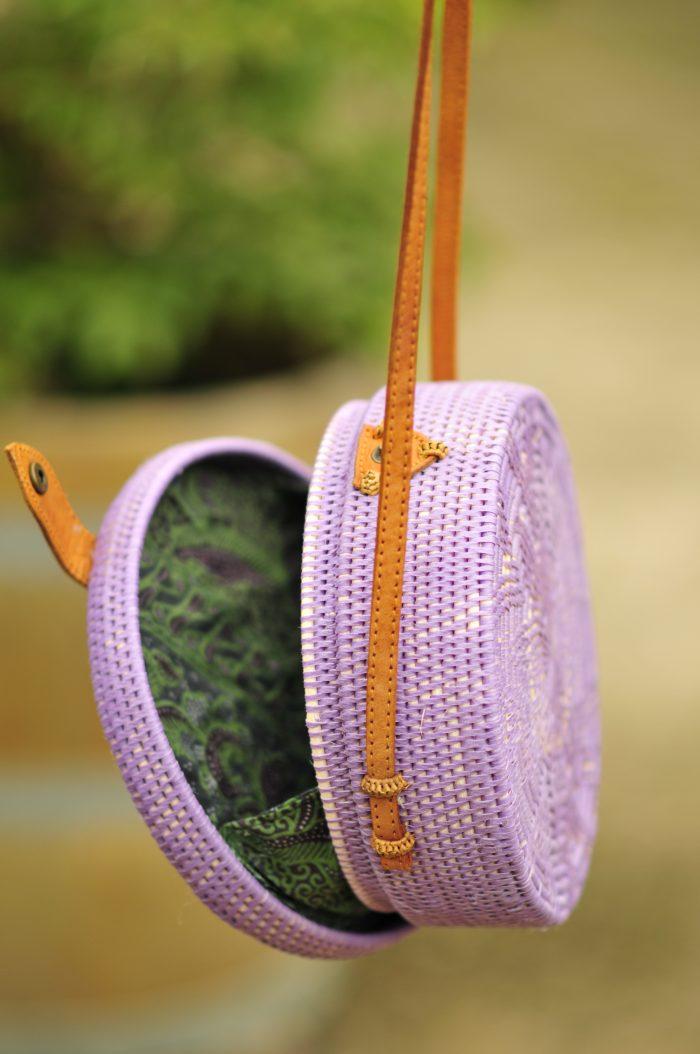 Details Lilac Bali bag, Lavender Bali bag, Round basket bag lilac