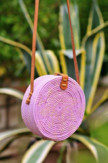 Pink Round basket bag, Bali bag, Bali, Rattan bag