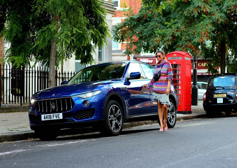 Tamara Chloé, Maserati Levante, London, Multicolor sweater.