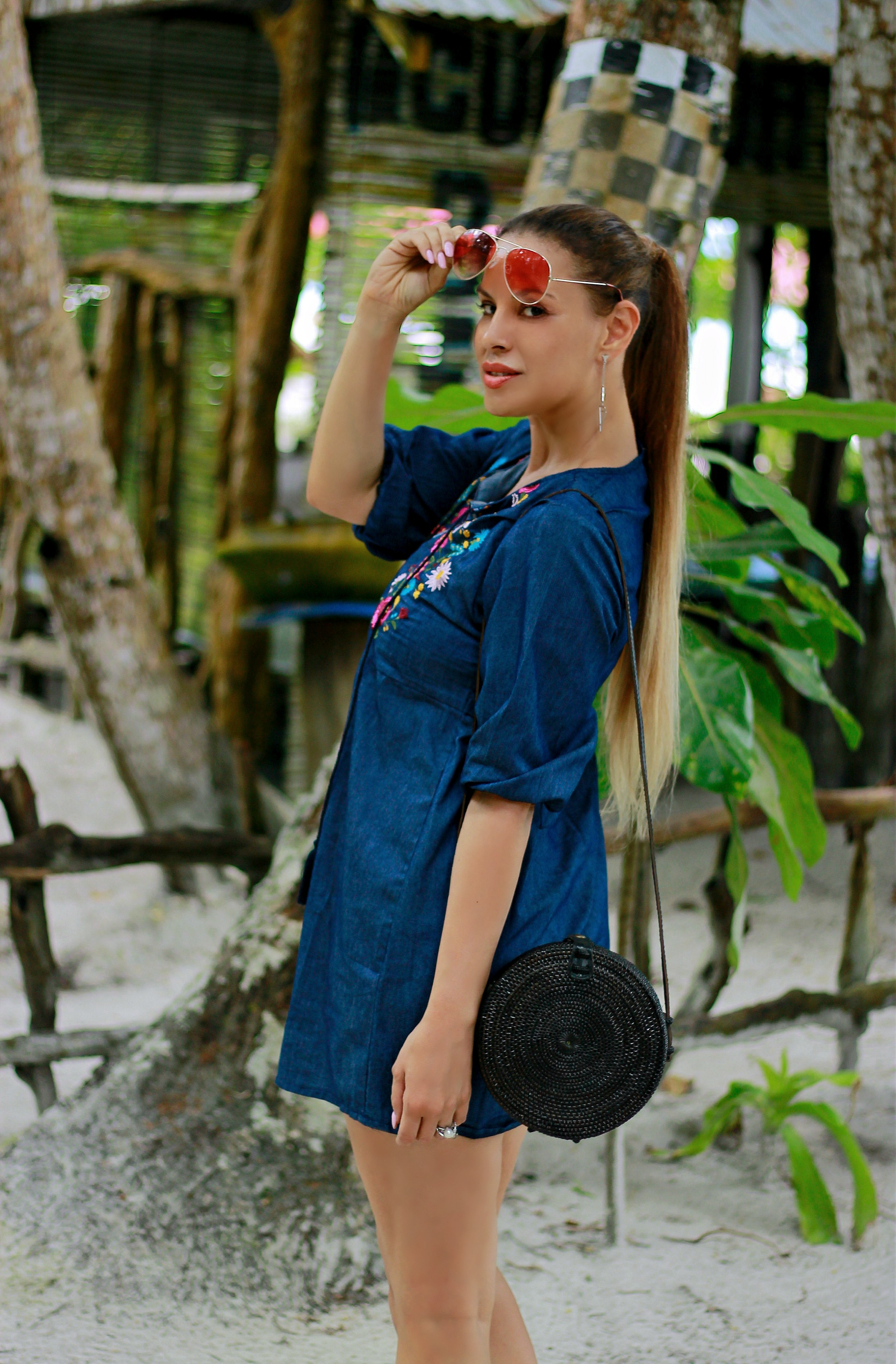 Why You Should winter travel, Tamara Chloé, Black Round Bali Bag, kei Islands, Maluku, Pasir Panjang beach, Indonesia, Embroidered denim dress6