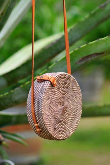 Grey Rattan Bali Round bag, Bali basket bag, Bali