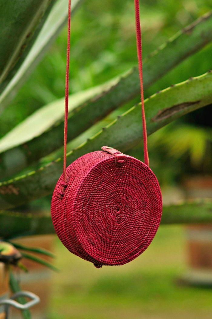Burgundy Bali Bag, ratan bag, Round straw bag