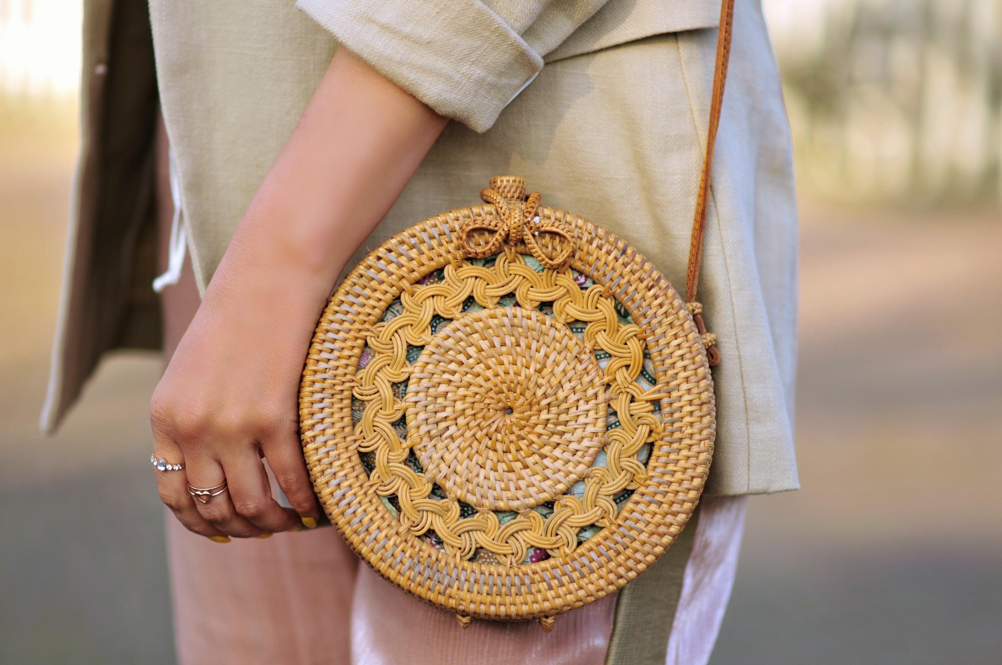 Bali Rattan bag, Round straw bag