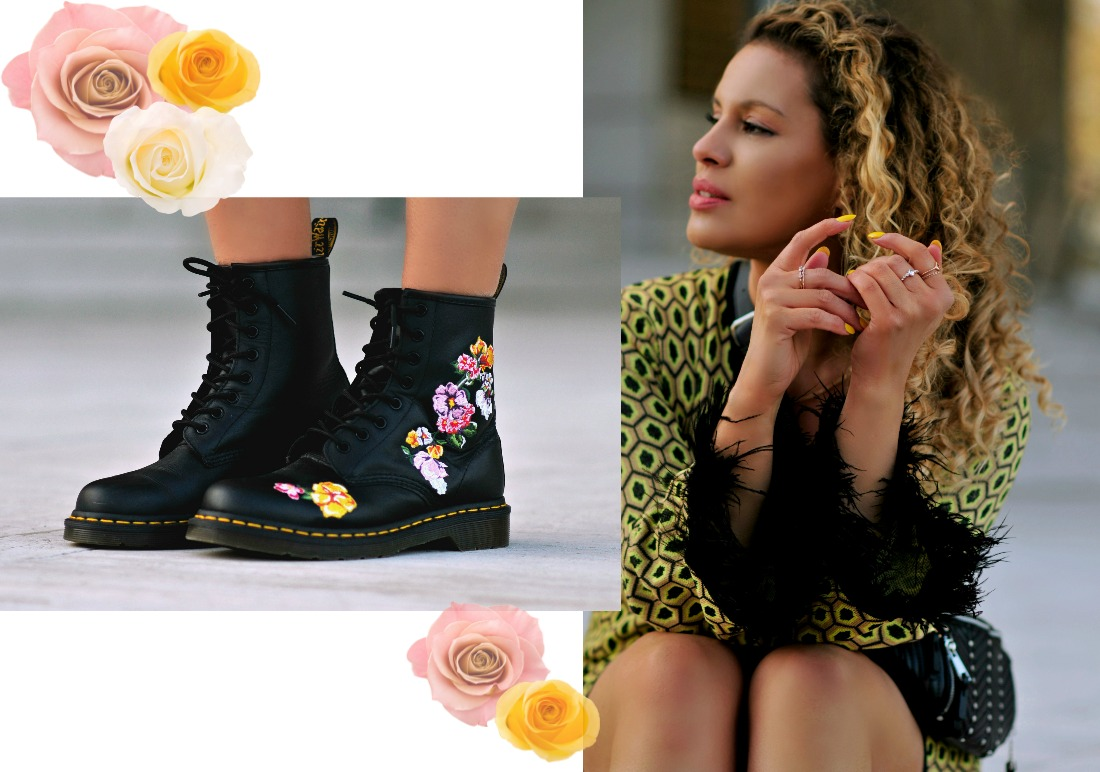 How To Wear The Cycling Shorts Trend, Floral Dr Martens,Collage, tamara Chloé7+1