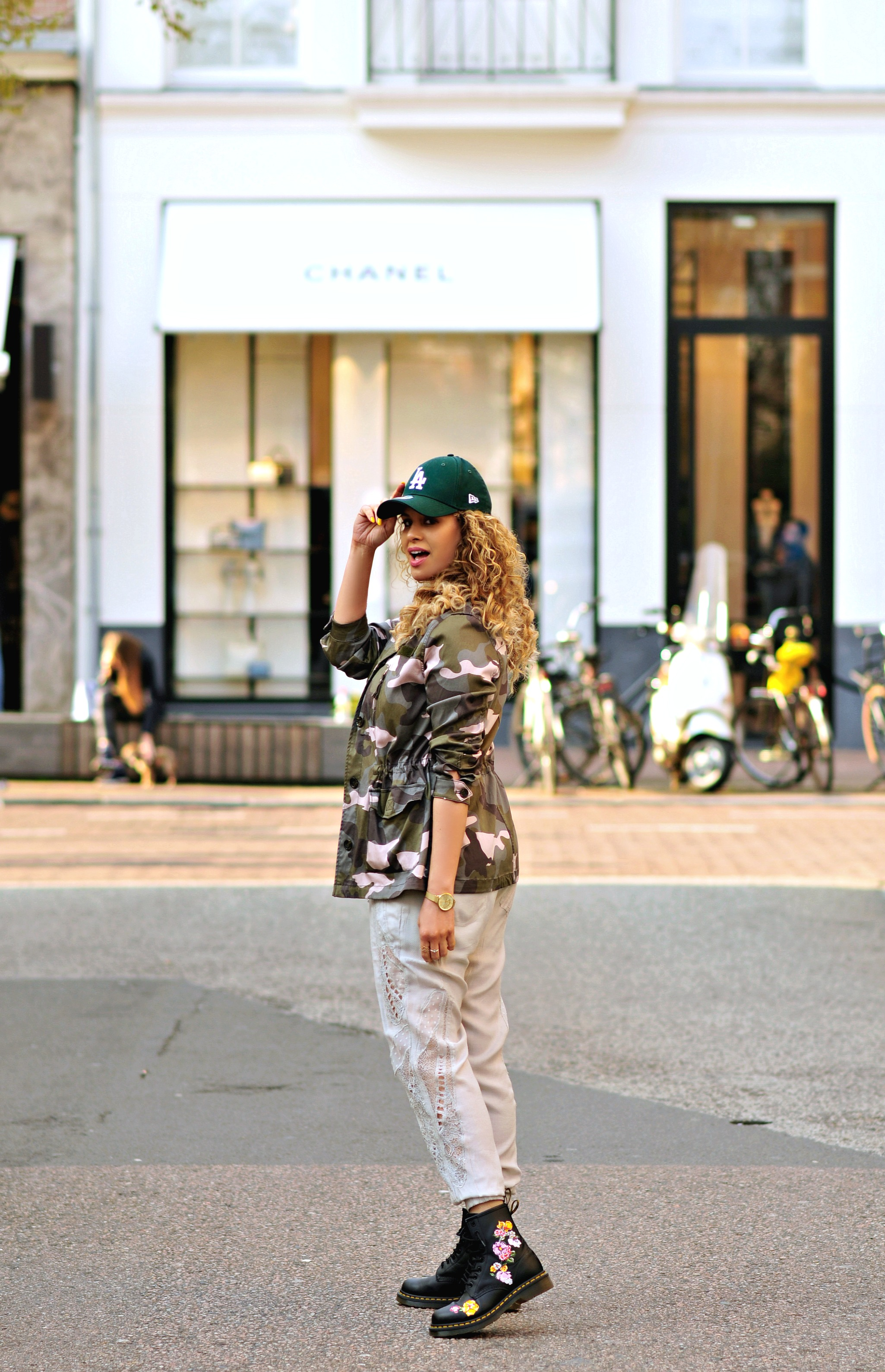5 ways to be a tourist in your hometown, Tamara Chloé, Camouflage jacket, Floral Dr Martens, Amsterdam