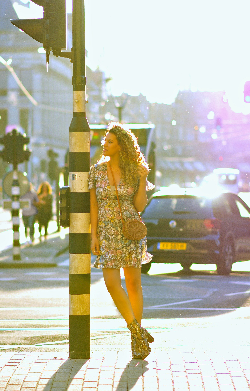 Dam square, Amsterdam, Tamara Chloé, Snakeskin dress, bali bag5+1