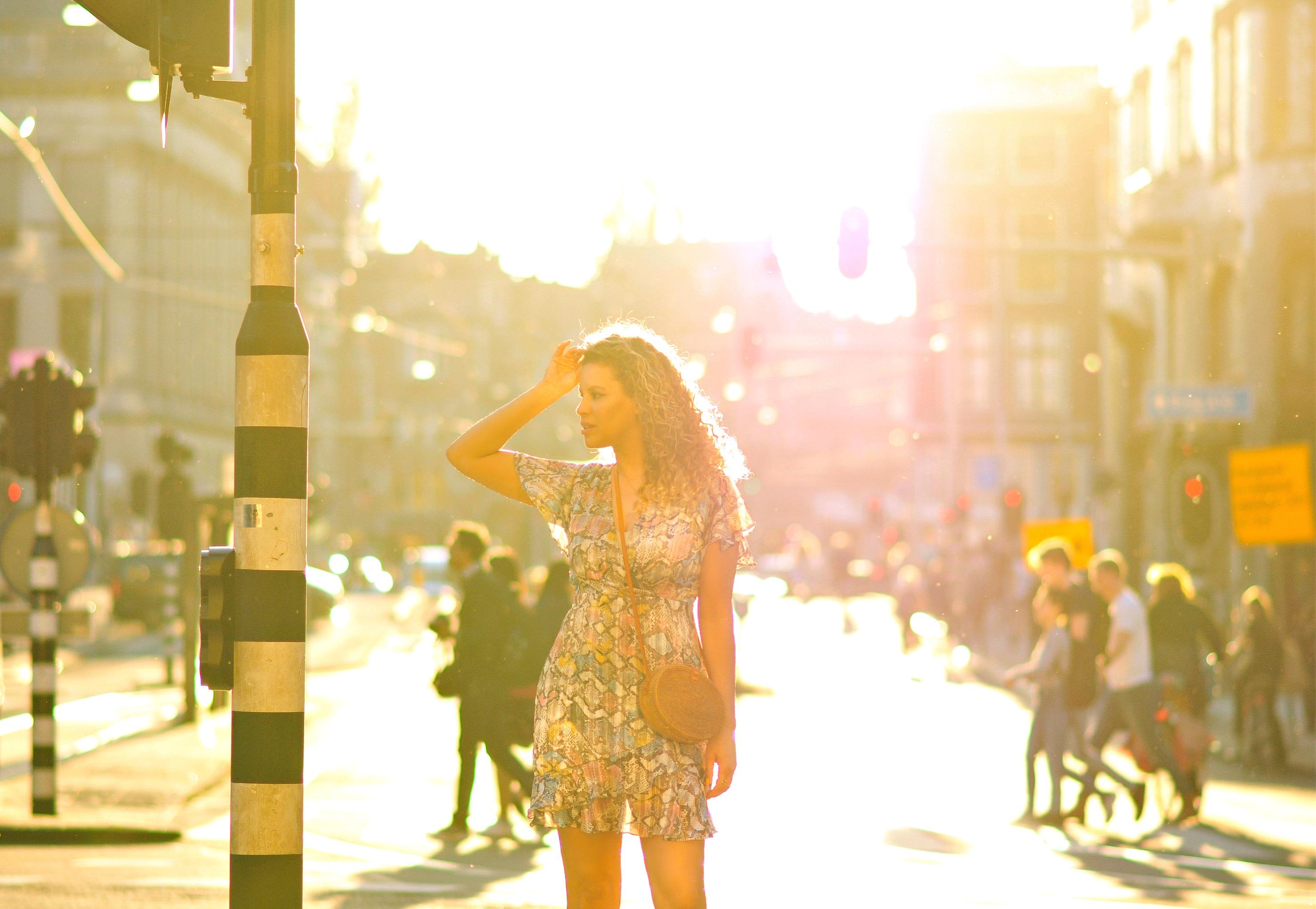 Dam square, Amsterdam, Tamara Chloé, Snakeskin dress, bali bag7