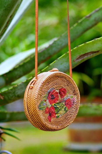 Floral Bali bag, Round rattan bag, Bali