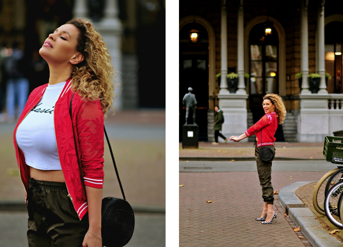 Femme Luxe Finery, Tamara Chloé, Black Bali bag, Red lace bomber jacket