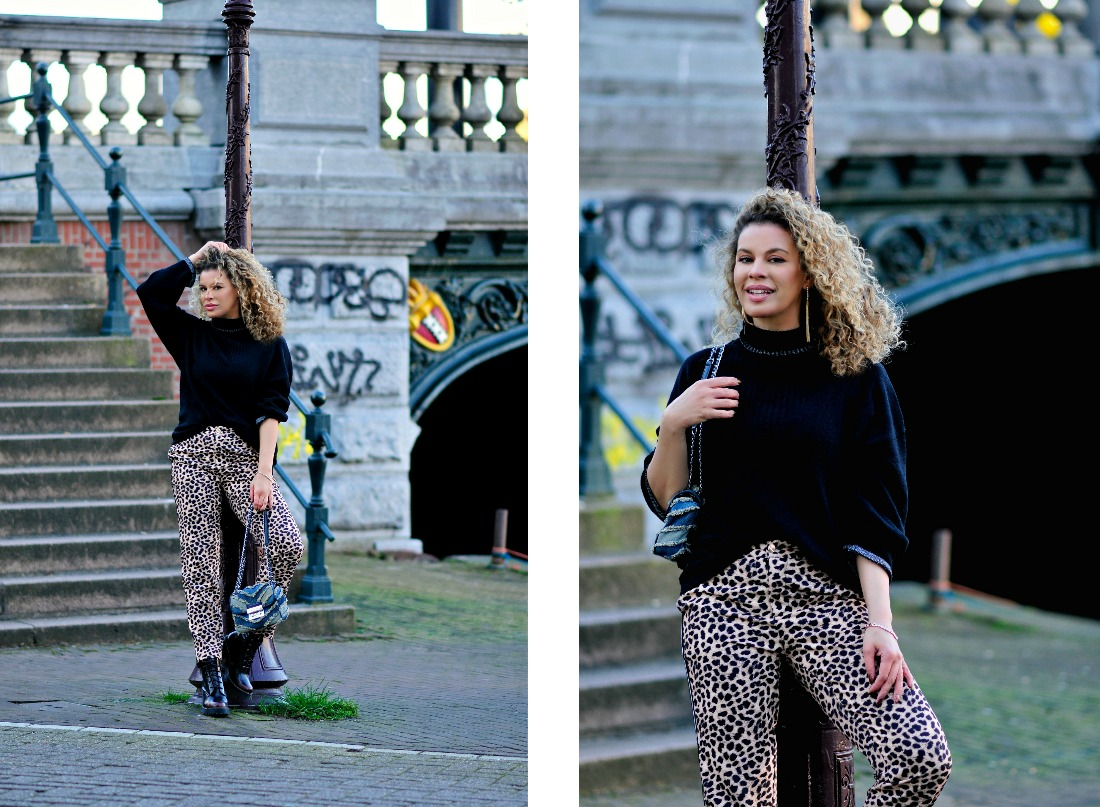 Tamara Chloé, Michael Kors bag, Leopard print trousers, Jacky Luxury, Blond natural curly hair, How to get dressed in a hurry