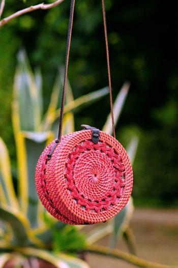 Coral round basket bag. Bali bag