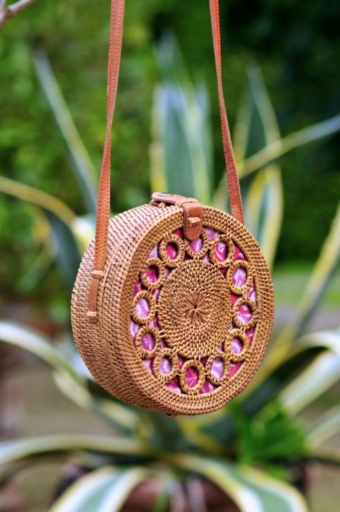 Classic Bali Bag pink batik lining, Round basket bag