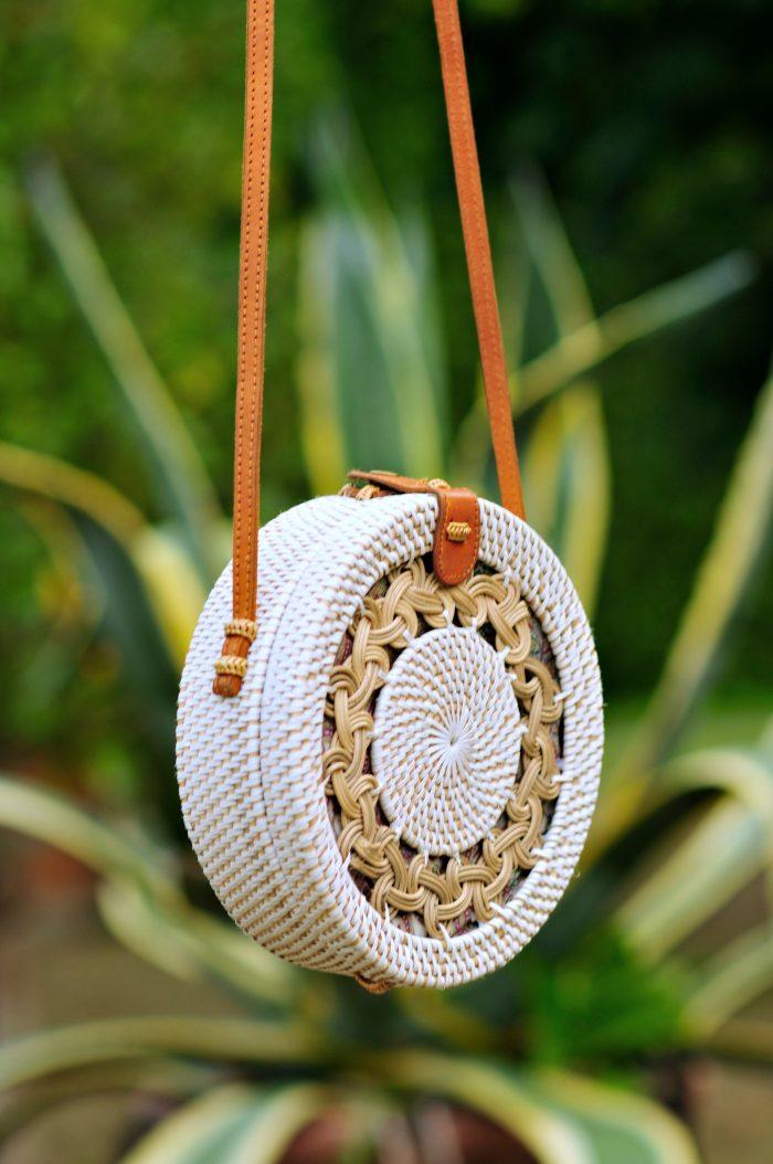 White Pattern Round Bali bag, Straw bag