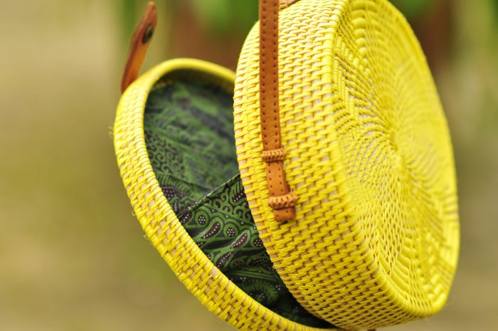 Yellow Bali bag, Round basket bag