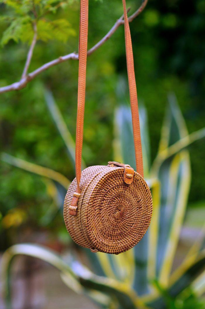 Bali bag small, Round basket bag