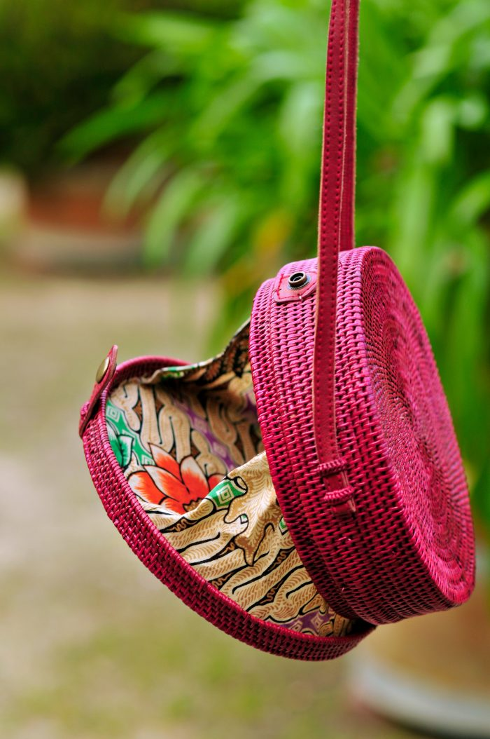 Burgundy Red Bali bag, Round straw bag