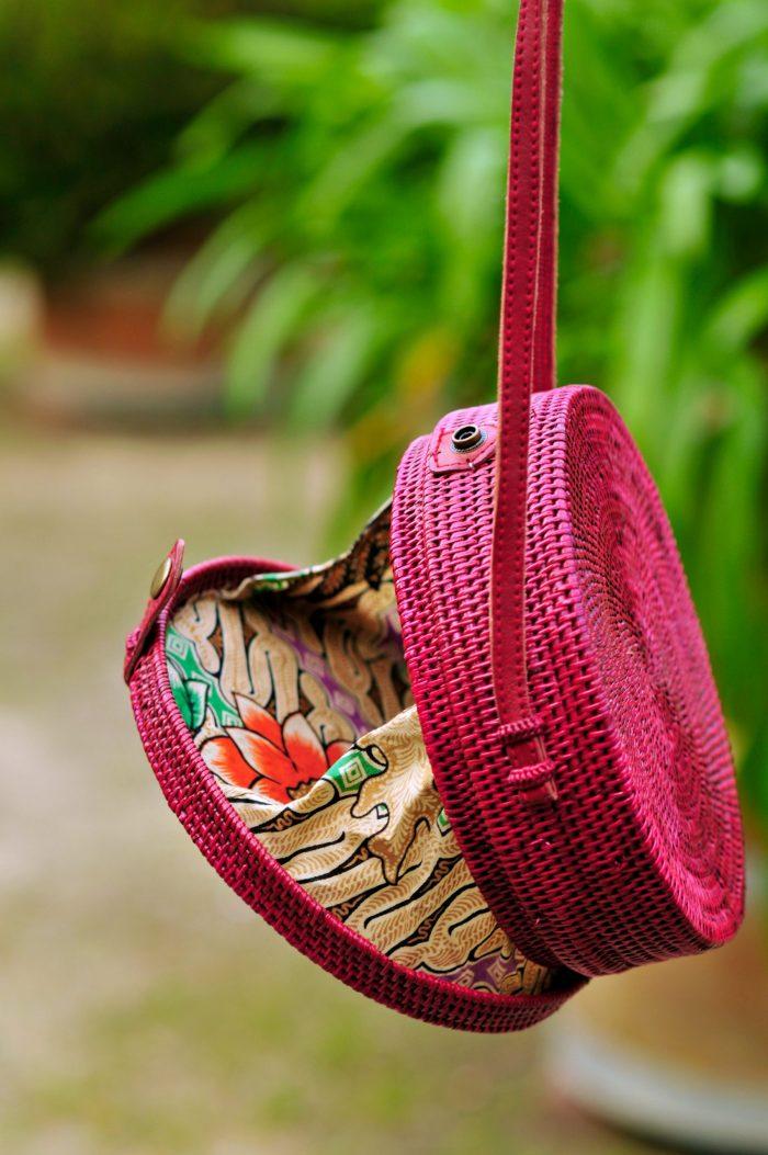 Burgundy Red Bali bag, Round straw bag