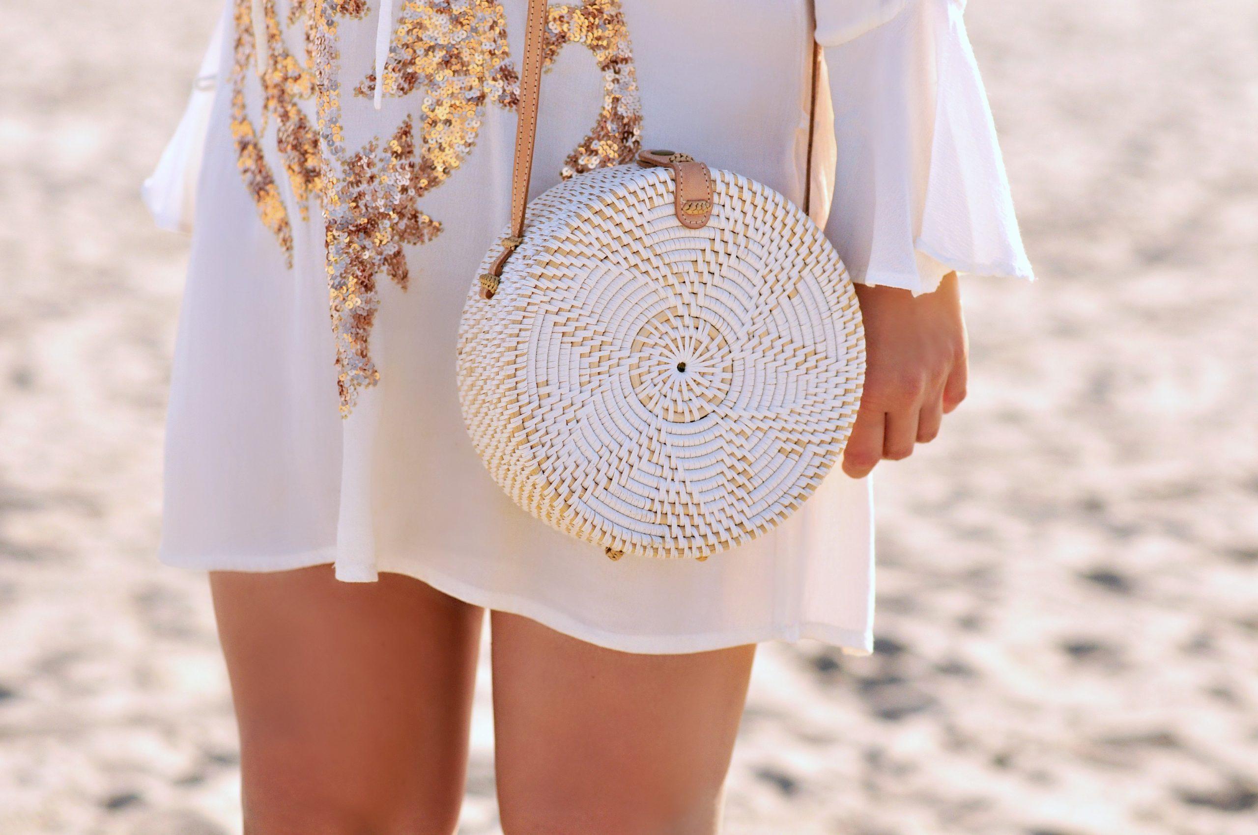 White-wash Bali bag, Bali rattan bag